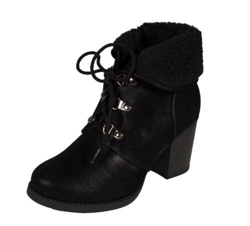 Soda Women/'s Faux Shearling Lace Up Block Heel Ankle Boots CREASON
