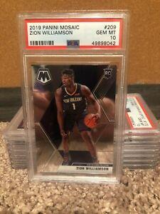 2019-20 Panini Mosaic #209 Zion Williamson Pelicans RC Rookie PSA 10 GEM MINT