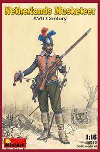 Miniart-16010-1-16-Netherlands-Musketeer-XVII-Century-Plastic-Model-Kit