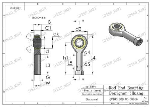 1x 6mm M6 Female Thread SI6T//K Rod End Spherical Plain Bearing Self-lubricating
