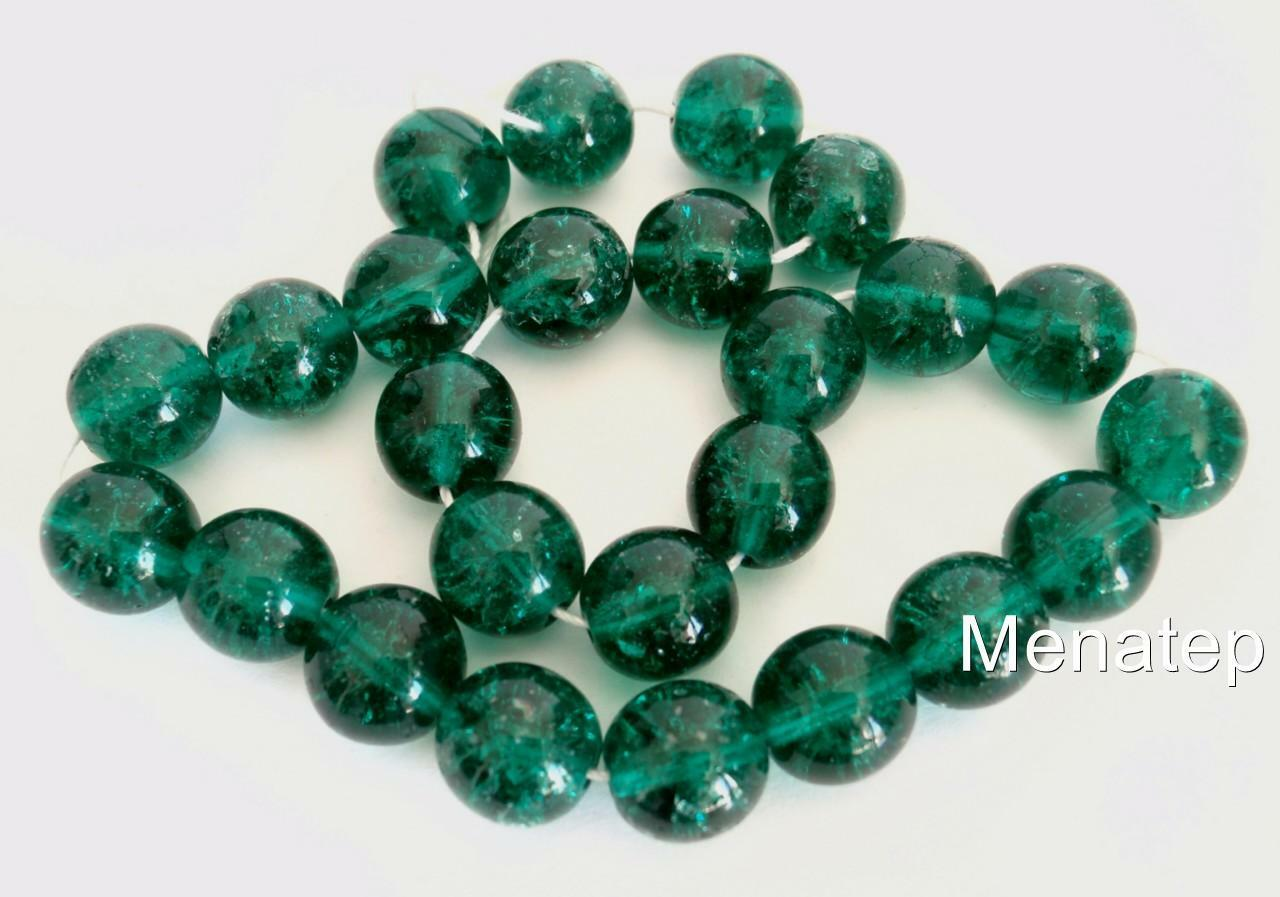 Emerald 10 10mm Czech Glass Round Crackle Beads