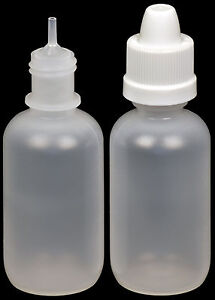 1-oz. 50-Pack Precise Tip w//White Cap Plastic Child-Resistant Dropper Bottle