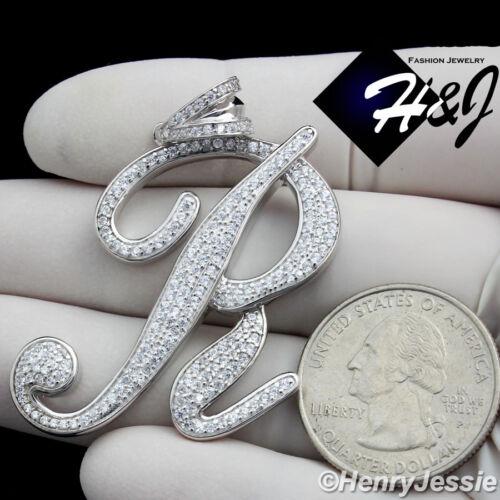 "MEN 925 STERLING SILVER LAB DIAMOND ICED BLING INITIAL LETTER /""R/"" PENDANT*SP141"