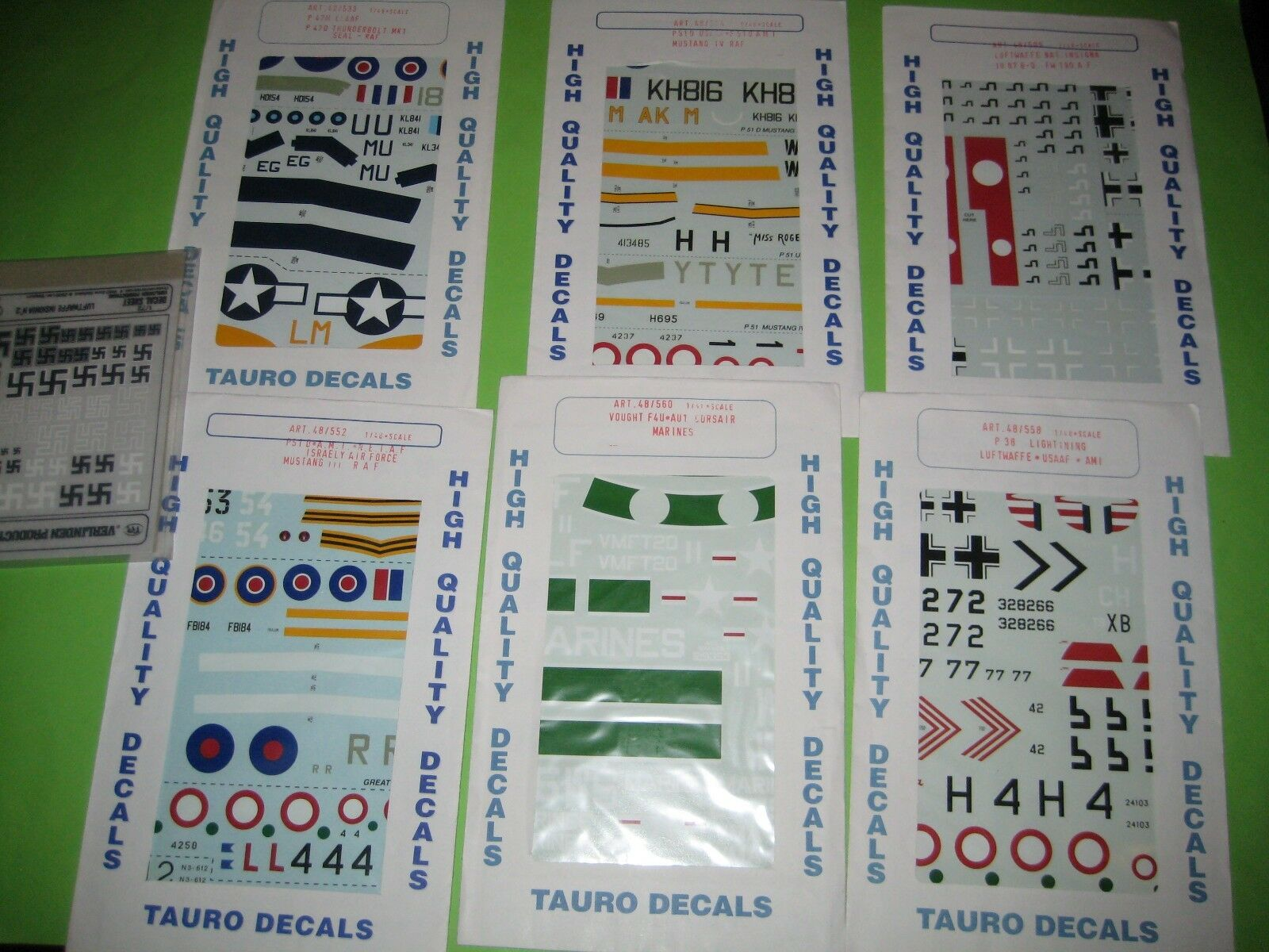 P-47D   P-38   P-51D     F-4U DECALS SETS BY TAUROMODEL 1 48 SCALE - KOMBO SET 1f7c12
