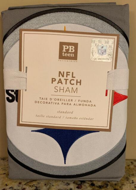 New Pottery Barn Teen Nfl Patch Standard Sham Gray