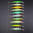 Lot 10pcs Kinds of Fishing Lures Crankbaits Hooks Minnow Baits Tackle