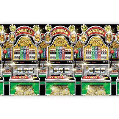 CASINO SCENE SETTER Party Wall Decoration Slot Machines Mega Jackpot Backdrop
