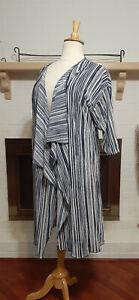 Lula-ROE-Blu-Bianco-a-Righe-aperto-sul-davanti-con-maniche-corte-Kimono-Cardigan