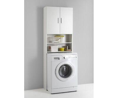 913-001 Olbia Waschmaschinenschrank - Überbauschrank Stauraumschrank weiss