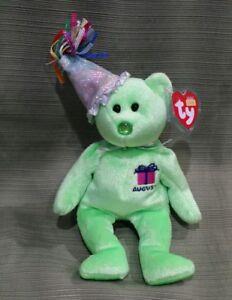 47bbfd1bc9b Ty Beanie Baby August the Birthday Bear w Hat - MWMT 2002 Retired ...