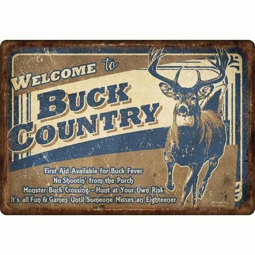 6178 River/'s Edge Products 12-inch x 17-inch Tin Sign Buck Country