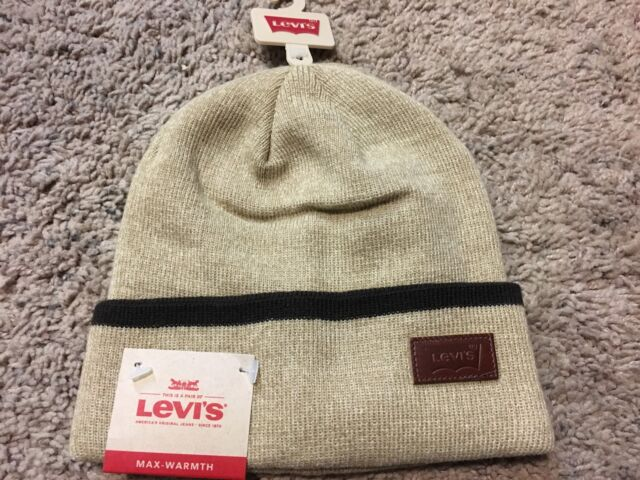 5f4f053c NWT Levis Mens Max Warmth Beanie with Solid Cuff Tipping Stripe, Khaki  Heather