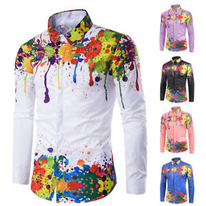 Mens-Fashion-Colorful-Splatter-Paint-Pattern-Turndown-Collar-Long-Sleeve-Shirt