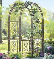 Garden Arbor Iron Patio Archway W/ Optional Gate Wedding Arch Trellis Large 7 Ft