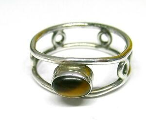 Handmade-925-Sterling-Silver-Ring-with-Real-Tiger-039-s-Eye-Stone-7-x-5-mm-Size-Q