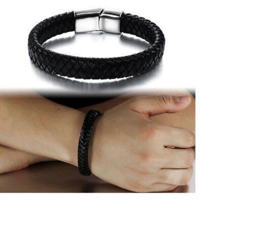 Mens Boys Leather Braided Wristband Bracelet Stainless Steel Bangle Wrap Black
