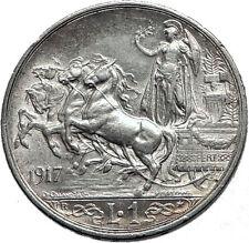 1917 ITALY King Victor Emmanuel III Silver 1 Lira Antique ITALIAN Coin i60051