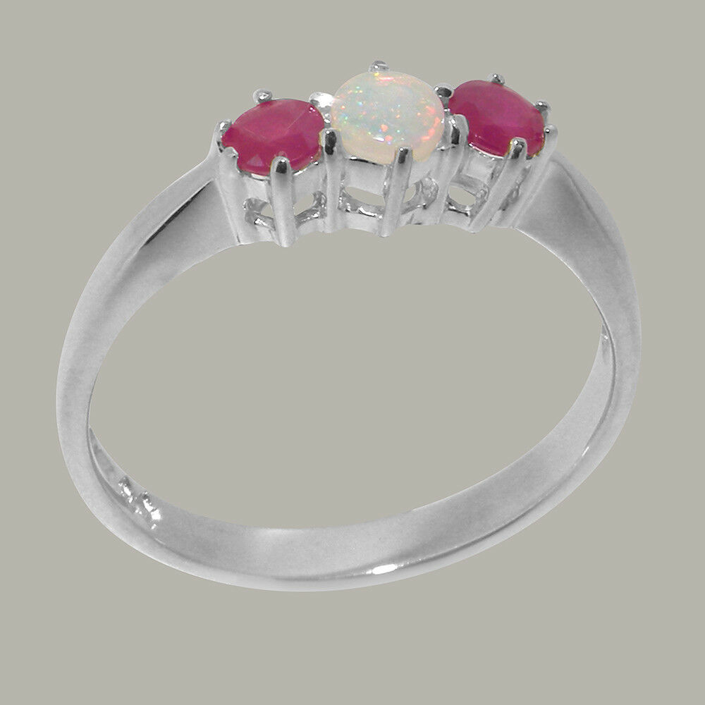 Solid 10ct White gold Natural Opal & Ruby Womens Trilogy Ring - Sizes J to Z