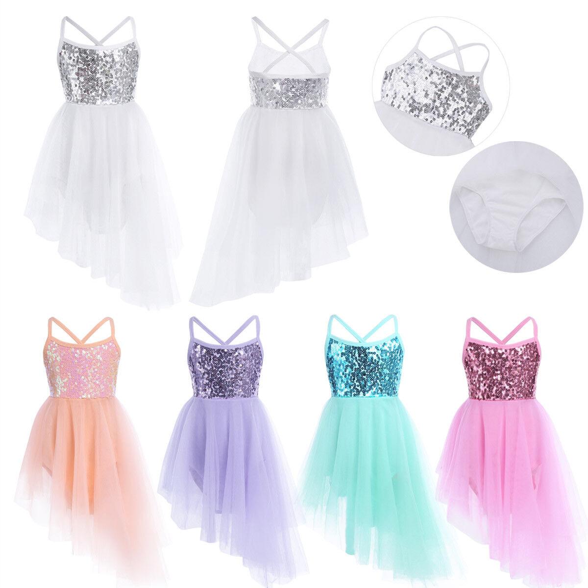 Kid Girls Sequins Ballet Dance Dress Ballerina Fairy Costume Asymmetrical Skirt