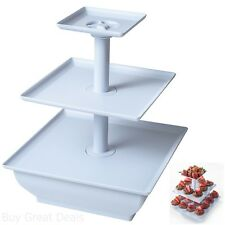 3 Tier White Buffet Tray Plate Cupcake Cake Cookies Desserts Stand Display Party