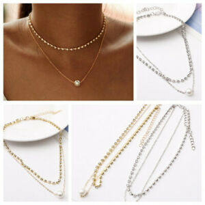 Double-Layer-Women-Rhinestone-Crystal-Clavicle-Choker-Necklace-Chain-Jewelry-NEW