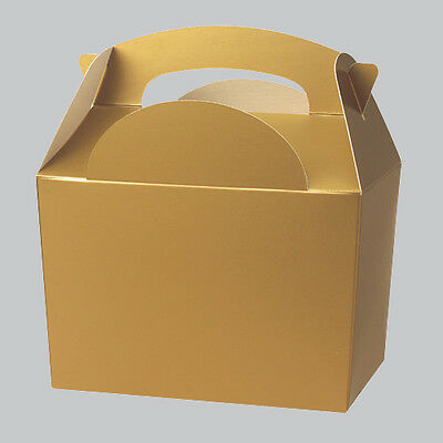 Gold Wedding Favour Childrens Kids Food Birthday Activity Meal Bag Carry Boxes
