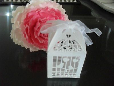 100 X Wedding Bridal Bomboniere Favour - White Birdcage Box, Laser Cut, 2B