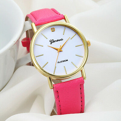 Women Fashion Dial Leather Band Analog Geneva Quartz Women Casual Wrist Watch