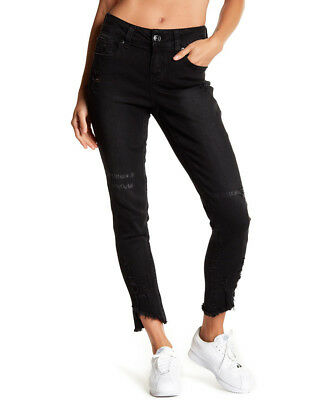 Candido Jeans Skinny Alla Caviglia Taglia 8 Nero Donna Effetto Anticato-mostra Il Titolo Originale