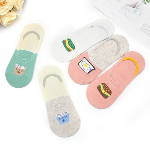 5 Pairs Women Cartoon Invisible No Show Nonslip Loafer Boat Liner Low Cut Socks