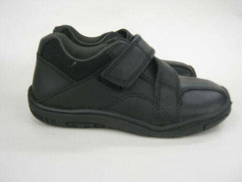 **SALE** Clarks /'Ketley Pre/' Boy/'s Black Leather Riptape Fastened School Shoes