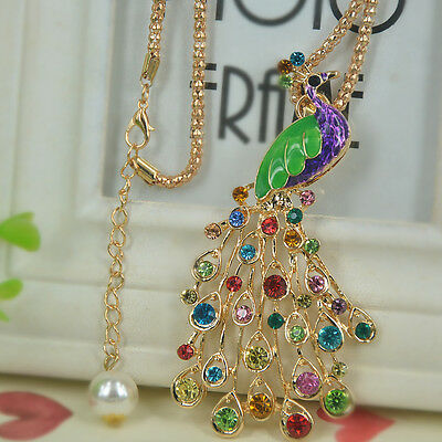 Peacock Sweater Bead Necklace Rhinestone Crystal Pendant Party Christmas Gift