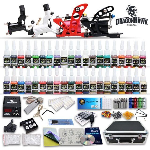 Professional Tattoo Kit Equipment 4 Rotary Machine Gun Power Supply ...