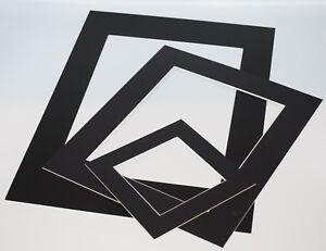 Black-Photo-Picture-Frame-Mounts-Bevel-Cut-1-4mm-White-Core-Mount-board