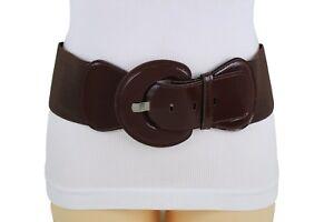 Women-Chocolate-Brown-Wide-Stretch-Fabric-Hip-Waist-Fashion-Belt-Slimming-M-L-XL