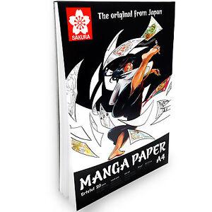 Sakura-Manga-Papier-A4-Bloc-de-Dessin-20-Feuilles-250g-Portrait