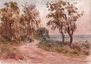 LAURENCE-GEORGE-BOMFORD-Painting-c1895-IMPRESSIONIST-COASTAL-LANE-LANDSCAPE