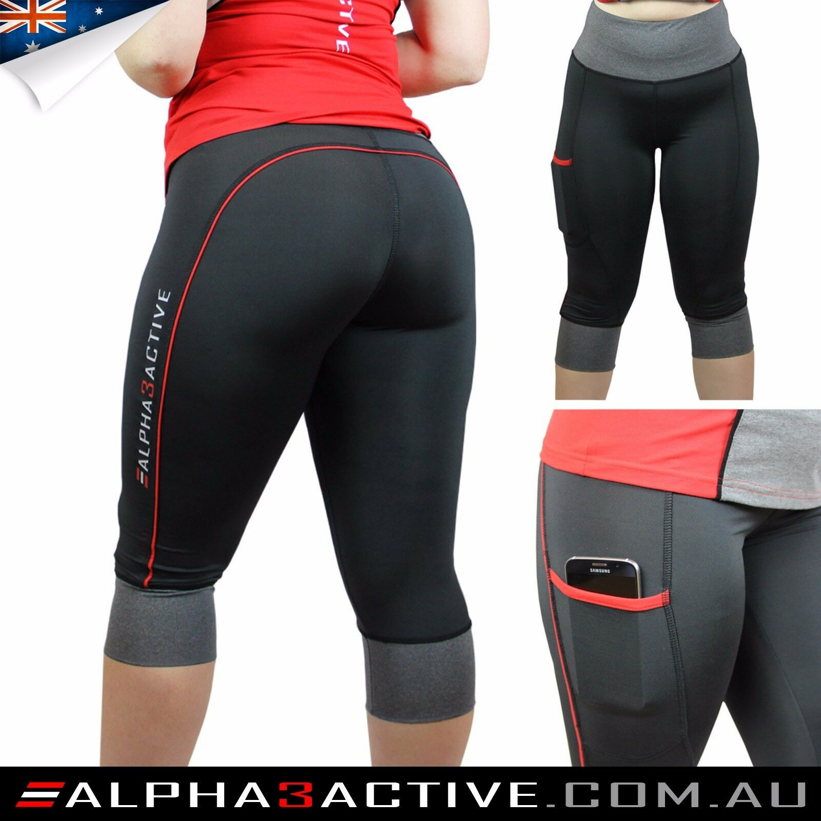 [Aussie Brand] Alpha3Active Redline High Waisted Tights Yoga Pants (Sizes 10-20)