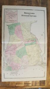Me 1872 Antik Landkarte / Biddeford & Kennebunkport Me Atlas York Grafschaft