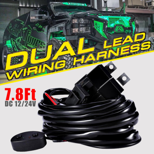 Dual Lead Modes Wiring Harness Kit 12//24V Switch Relay Harness For LED Light Bar