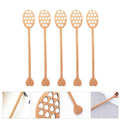 5pcs Durable Creative Heart-shaped Honey Spoon Honey Dipper Mixing Stick