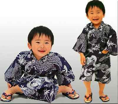 Japanese Kid Boy/'s Cotton Kimono Jinbei Rich Fortune Bamboo Dragon Made in Japan