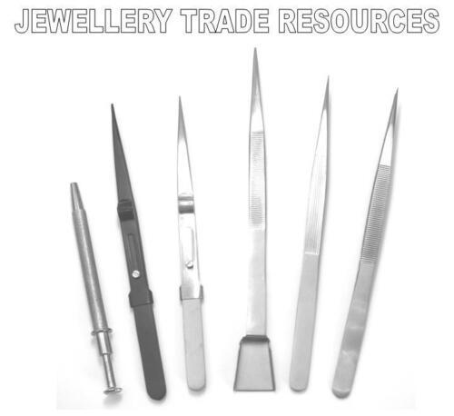 NEW JEWELLERS /& GEMOLOGISTS GEM STONE /& DIAMOND TWEEZERS SET OF 6