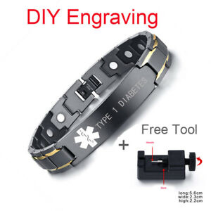 Men-Medical-Alert-ID-Health-Magnet-Therapy-Bracelet-Free-Engraving-amp-Adjust-Tool