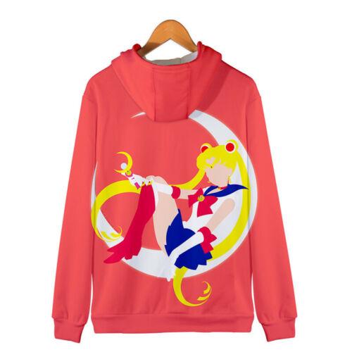 Men Women Casual Coat Cosplay Classic Japan Anime Sailor Moon Hoodie Zip Jacket