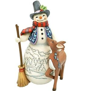 Jim-Shore-4th-Annual-Snowman-With-Deer-Figurine-6005913-New