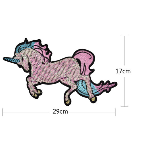 Embroidered Patches Big Horse Sequin Patch Iron On Fabric Badge SewOnApplique JP