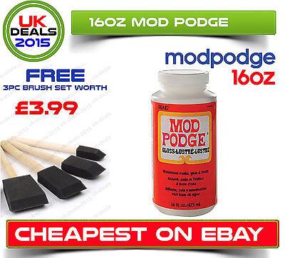16Oz Modge Pod Gloss Varnish Glue Adhesive Sealer Decoupage + Free Foam Brushes