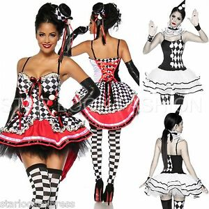 harlekin kost m damen zirkus kost m fasching karneval pierrot harlekin kleid ebay. Black Bedroom Furniture Sets. Home Design Ideas