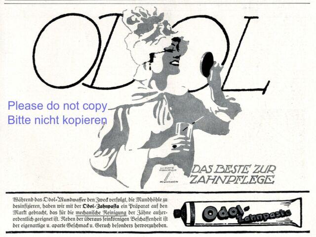 Zahnpasta Odol Reklame von 1920 Dame Spiegel Ludwig Hohlwein Zähne Werbung +